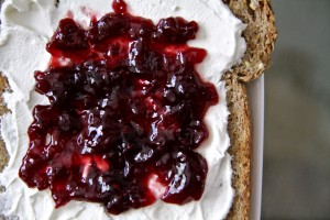 Toast with Cream Cheese and Jam