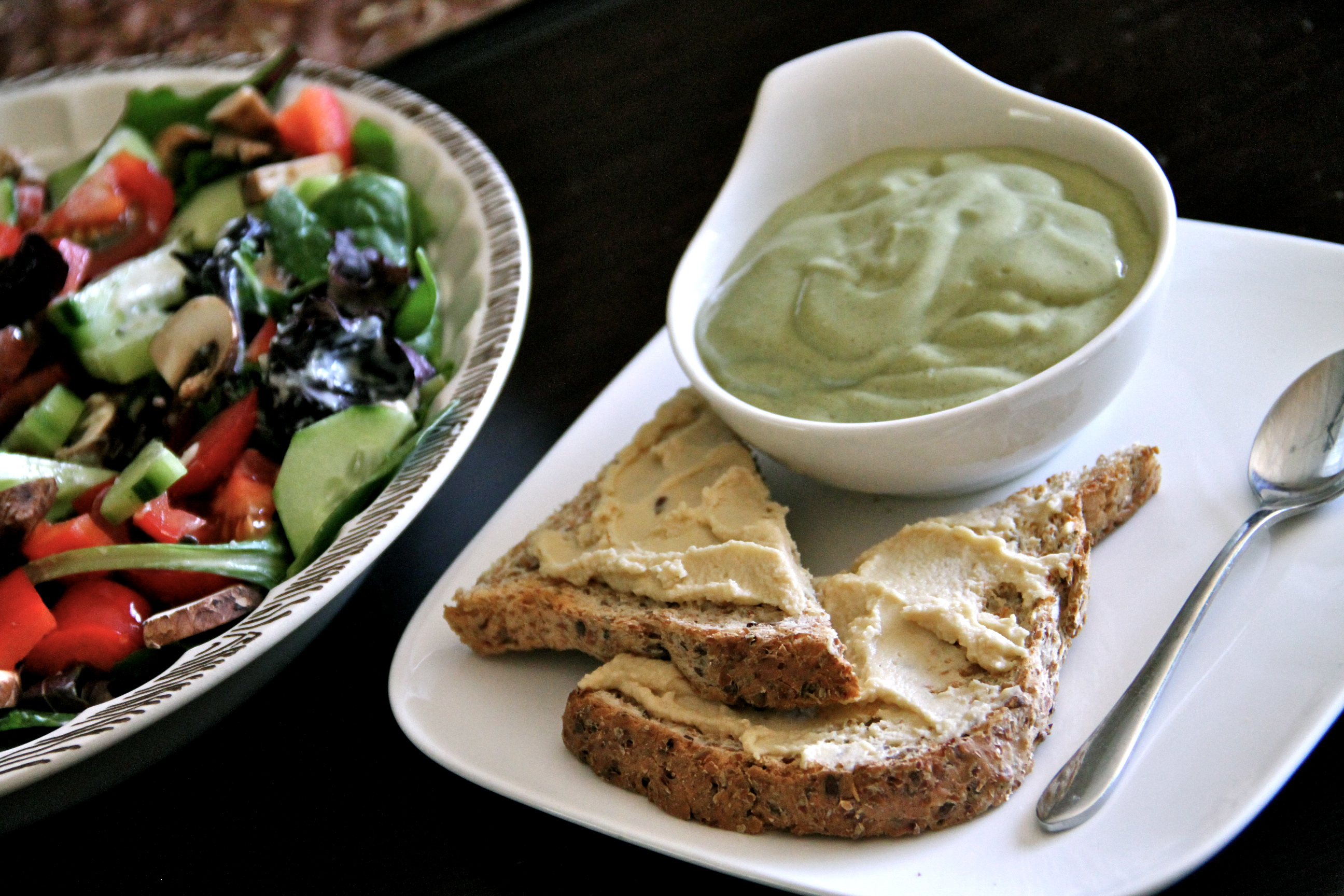 Salad, toast with hummus, bowl of… green goo? More on that in a ...