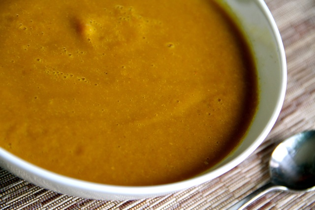 curried apple pumpkin soup . - . running with spoons .
