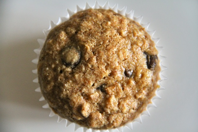 chocolate chip oatmeal muffins . - . running with spoons .