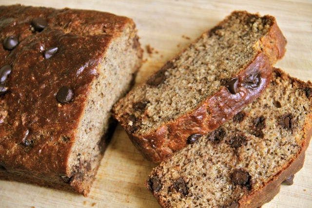 chocolate chip banana bread . - . running with spoons .