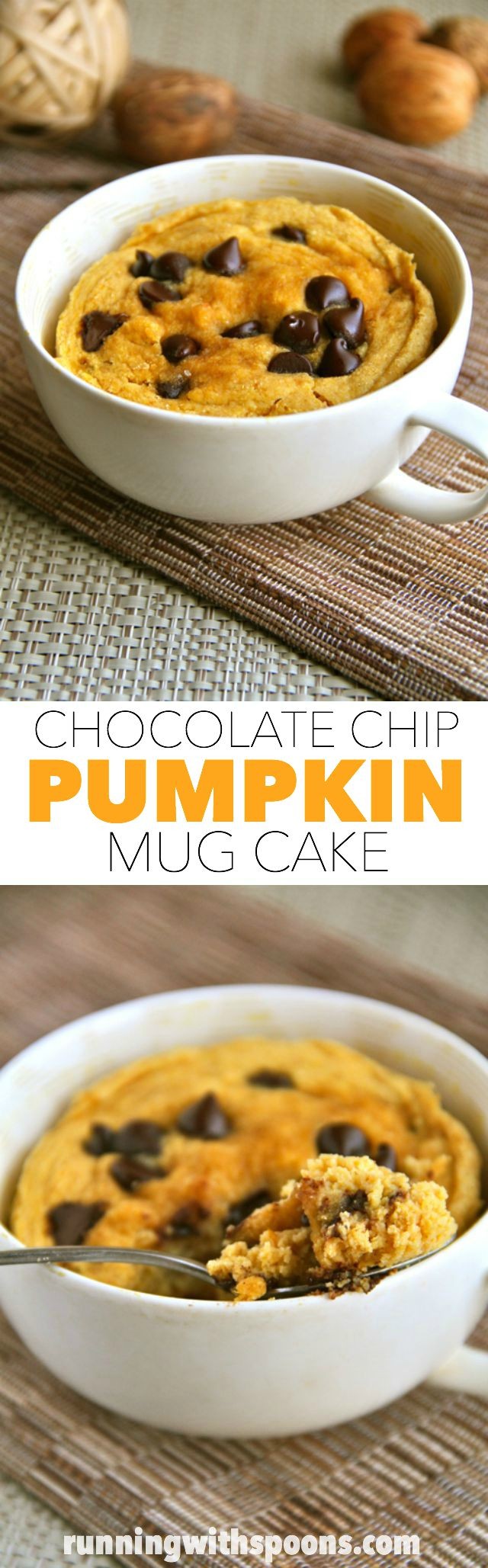 chocolate chip pumpkin mug cake . - . running with spoons .