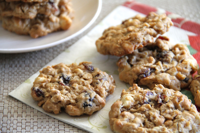 chewy white chocolate cranberry oatmeal cookies . - . running with ...