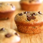 Flourless Chocolate Chip Banana Nut Muffins -- gluten-free, sugar-free, dairy-free, and oil-free. Recipe at runningwithspoons.com.