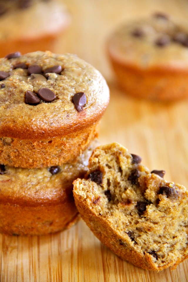 Flourless Chocolate Chip Almond Butter Muffins -- gluten-free, sugar-free, dairy-free, and oil-free, but so soft and fluffy that you'd never know they were healthy!    runningwithspoons.com #muffins #flourless #healthy