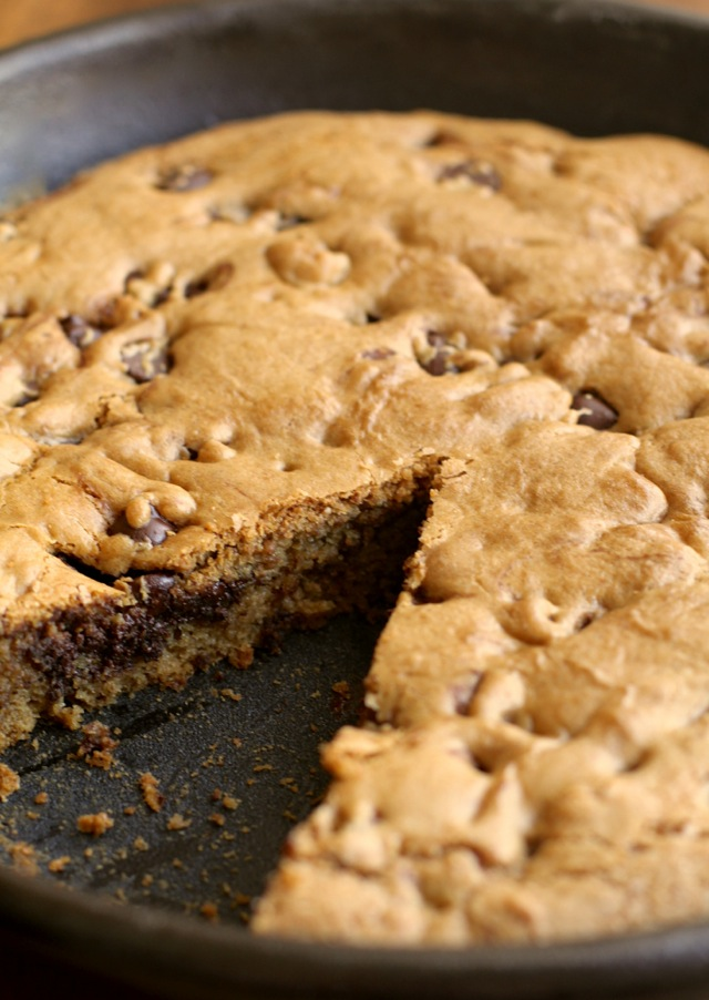 This chocolate chip skillet cookie is soft and chewy with a subtle ...