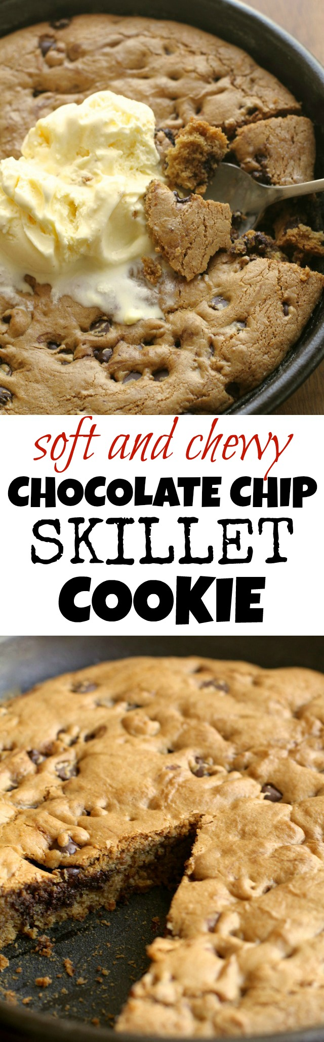Soft and Chewy Chocolate Chip Skillet Cookie || runningwithspoons.com