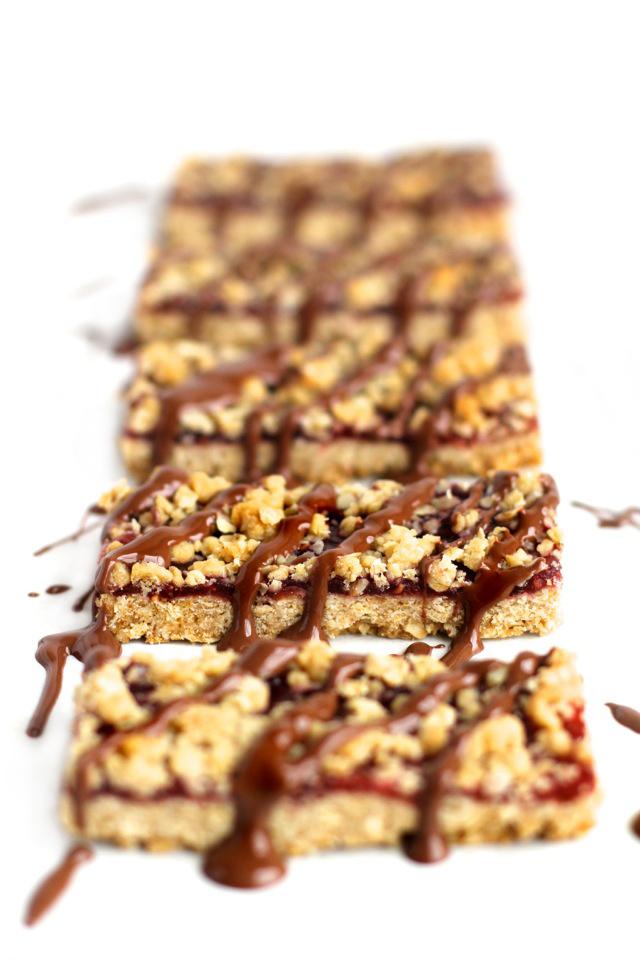 Chocolate Covered Raspberry Oat Bars    runningwithspoons.com
