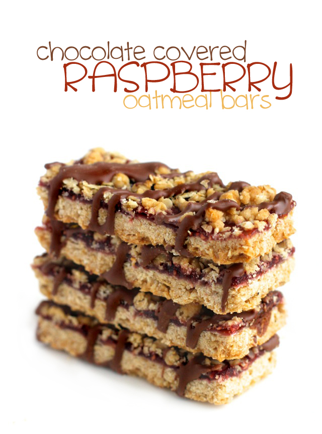 Chocolate Covered Raspberry Oat Bars || runningwithspoons.com