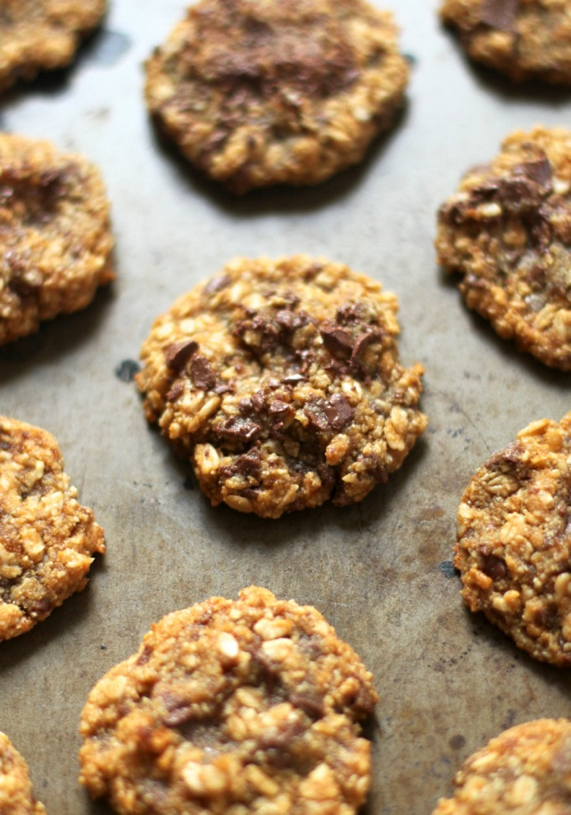 Almond Joy Oatmeal Cookies -- almond flour, coconut, and chocolate in a soft and chewy gluten-free oatmeal cookie    runningwithspoons.com #glutenfree #healthy #cookies