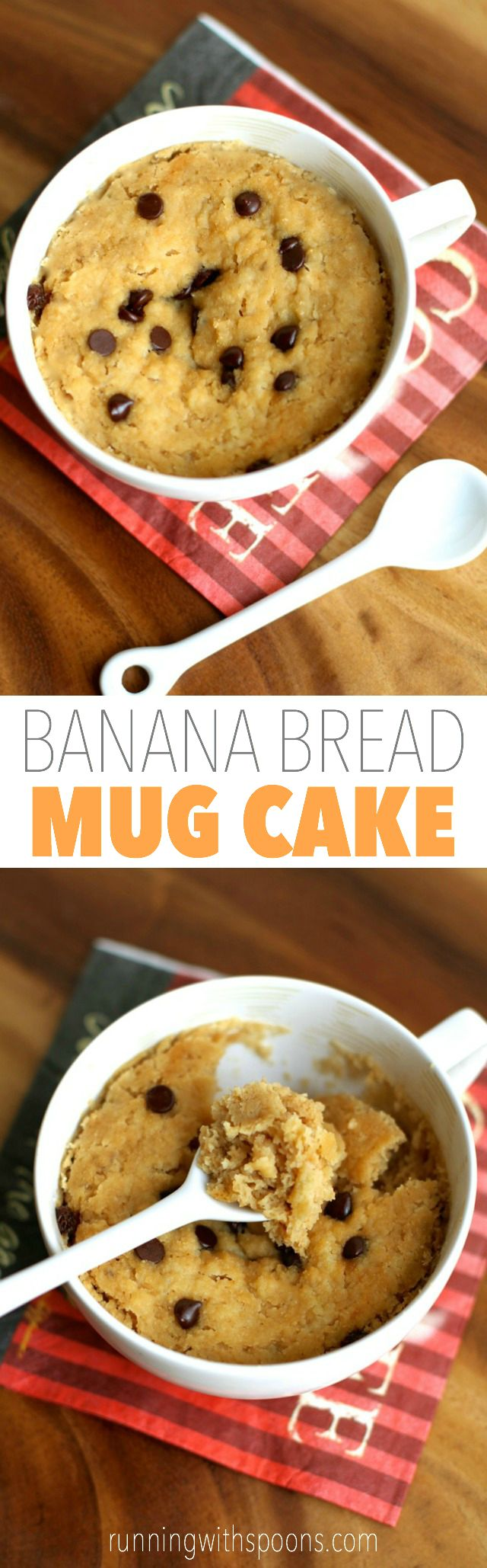 Banana Bread Mug Cake -- 5 minutes and 5 ingredients is all you need to make this healthy and delicious vegan mug cake! || runningwithspoons.com #glutenfree #vegan