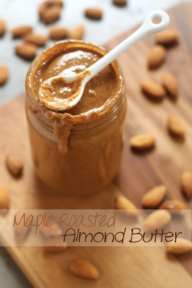 Homemade Creamy Maple Roasted Almond Butter -- easy, healthy, delicious, and so much better than store-bought! || runningwithspoons.com