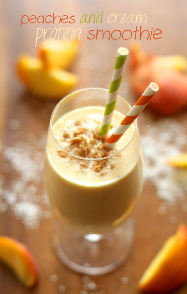 Peaches 'n' Cream Protein Smoothie -- thick, creamy, and boasting a whopping 15g of protein without the use of any powders!    runningwithspoons.com #peaches #protein #smoothie
