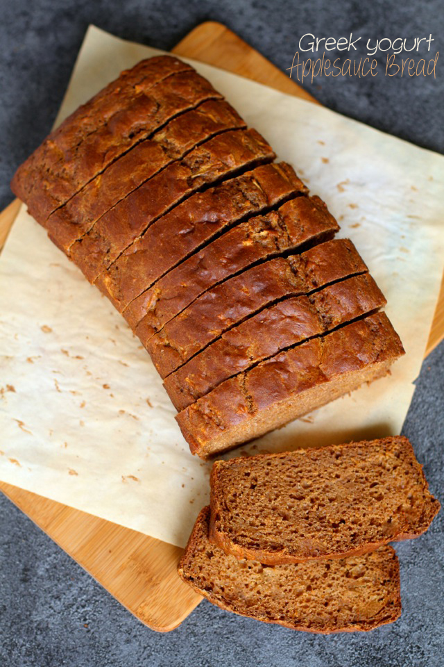 Spiced Greek Yogurt Applesauce Bread -- apples and warming spices compliment each other perfectly in this ridiculously soft and fluffy quick bread! || runningwithspoons.com