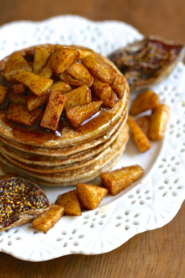 Apple Oat Greek Yogurt Pancakes -- lighty, fluffy, and gluten-free. A quick and easy breakfast that packs over 20g of protein! || runningwithspoons.com #pancakes #breakfast #apple