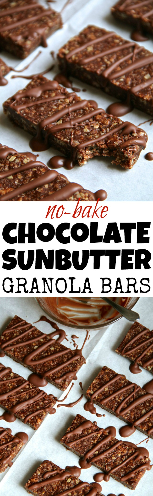 No Bake Chocolate Sunflower Seed Butter Granola Bars -- soft, chewy, and allergy-friendly! These delicious bars are free of all the common food allergens! | runningwithspoons.com #glutenfree #vegan #snack #recipe