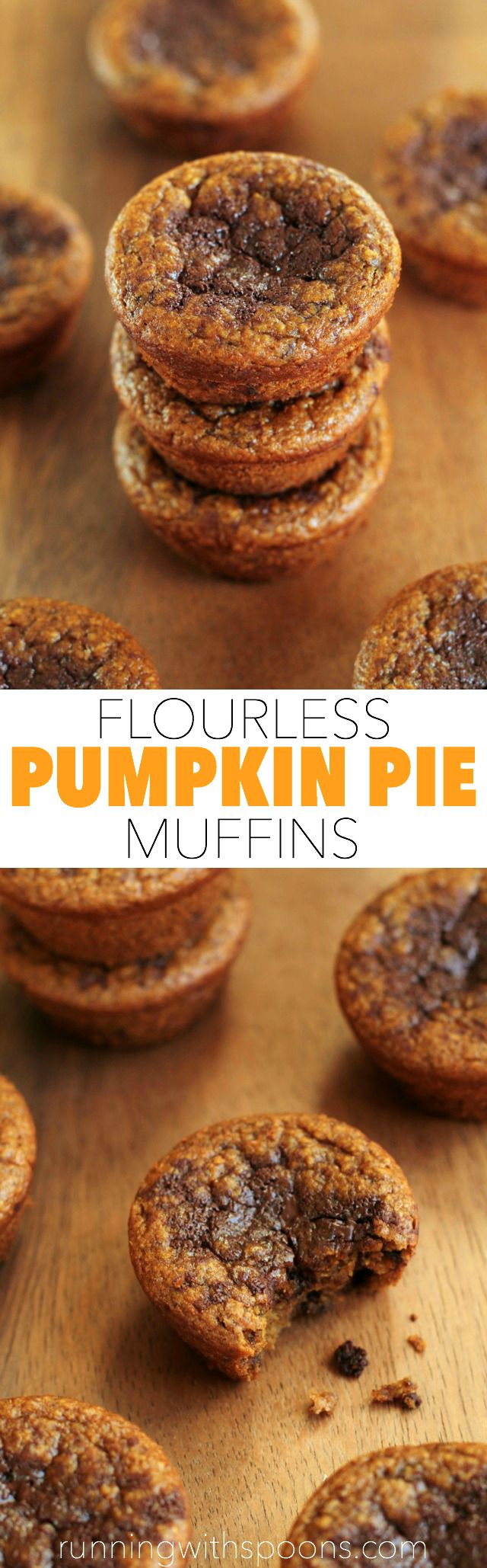 Flourless Pumpkin Pie Muffins -- you won't miss the flour, oil, or sugar in these soft and tender muffins! || runningwithspoons.com #glutenfree #pumpkin #muffins