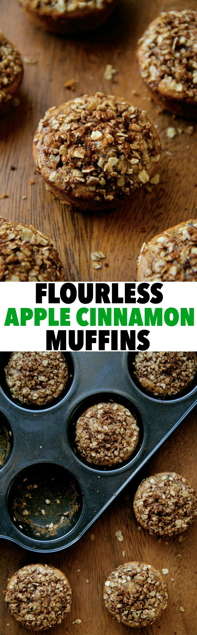 Flourless Apple Cinnamon Muffins -- soft, sweet, and made without flour, oil, or refined sugar!    runningwithspoons.com #apple #muffin