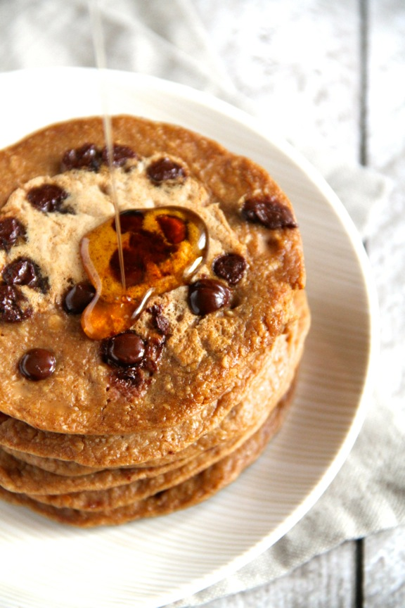 Chocolate Chip Gingerbread Greek Yogurt Pancakes -- Light, fluffy, and completely irresistible! || runningwithspoons.com #glutenfree #pancakes #breakfast