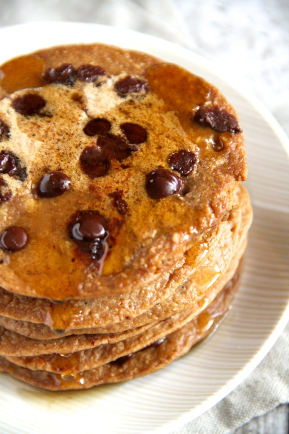 Chocolate Chip Gingerbread Greek Yogurt Pancakes -- Light, fluffy, and completely irresistible!    runningwithspoons.com #glutenfree #pancakes #breakfast
