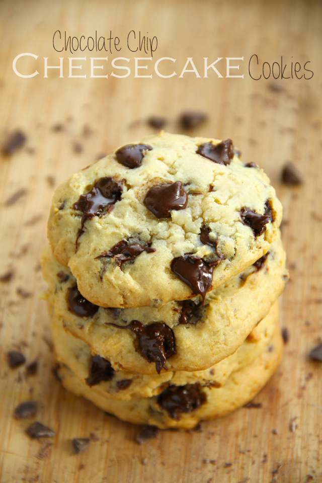 Chocolate Chip Cheesecake Cookies || runningwithspoons.com