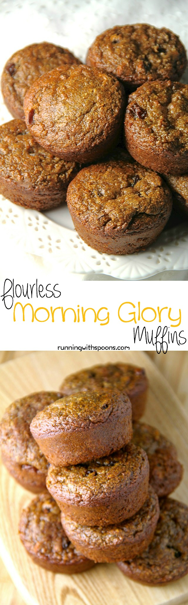 These delicious Flourless Morning Glory Muffins are gluten-free, refined sugar-free, dairy-free, oil-free and whipped up in the blender in under 5 minutes flat!    runningwithspoons.com #glutenfree #muffins