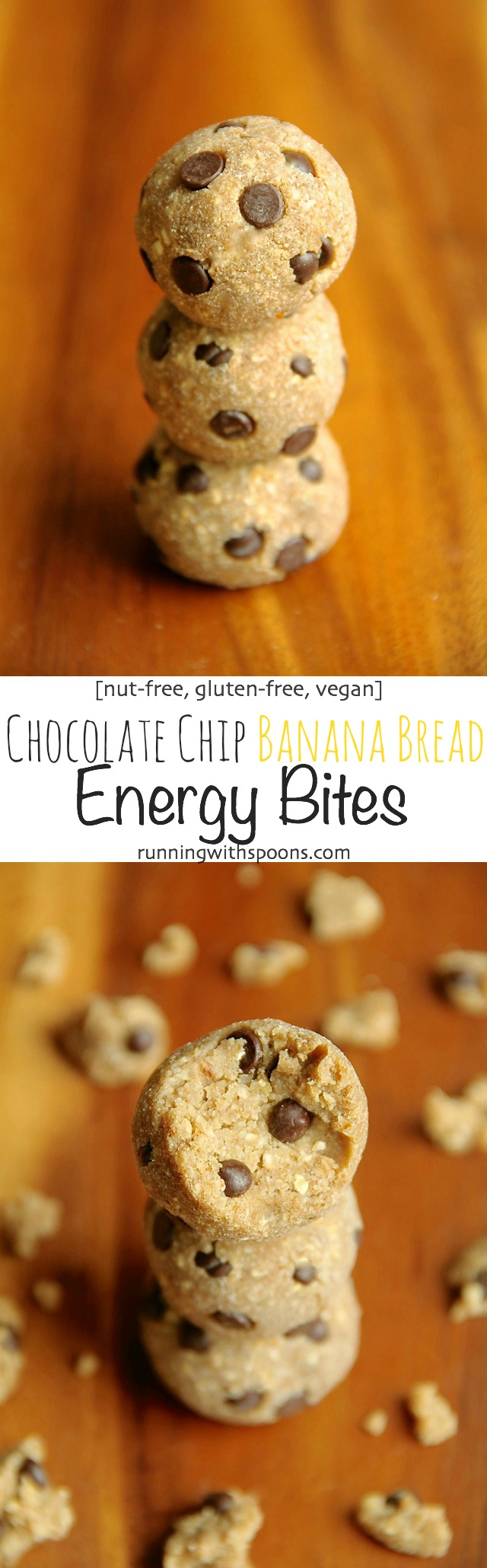 These 5-ingredient, no-bake Chocolate Chip Banana Bread Energy Bites are nut-free, gluten-free, vegan, and taste just like poppable bites of banana bread! || runningwithspoons.com #glutenfree #vegan