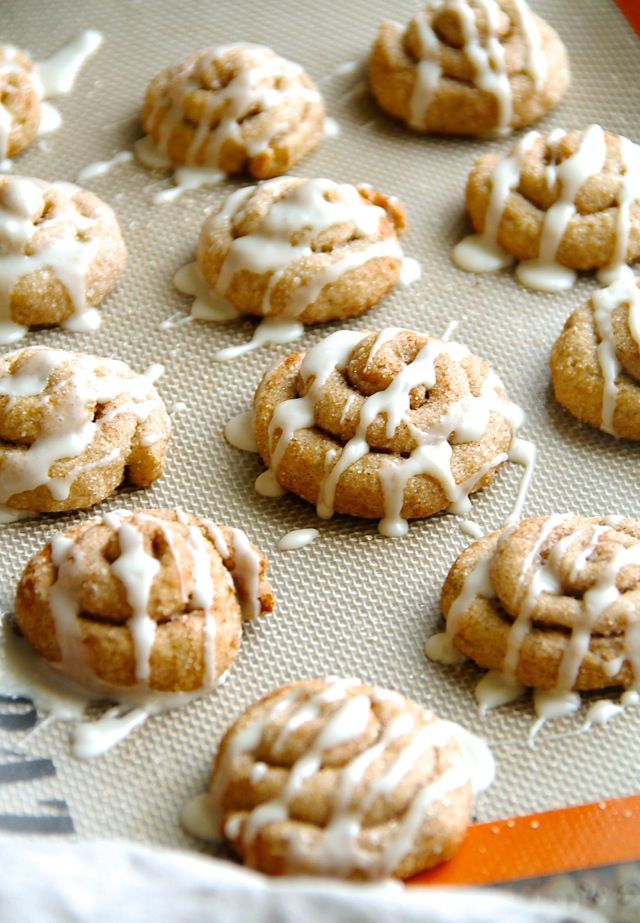 Cinnamon Roll Sugar Cookies -- they delicious cookies may look fancy and complicated, but they're super simple to make!    runningwithspoons.com