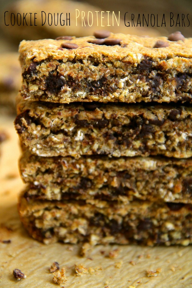 Cookie Dough Protein Granola Bars -- Soft, chewy, dense, and satisfying, these homemade granola bars are something you can really sink your teeth into. Gluten-free, refined sugar-free, vegan, and crazy delicious! || runningwithspoons.com