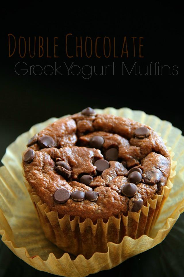 double chocolate greek yogurt muffins