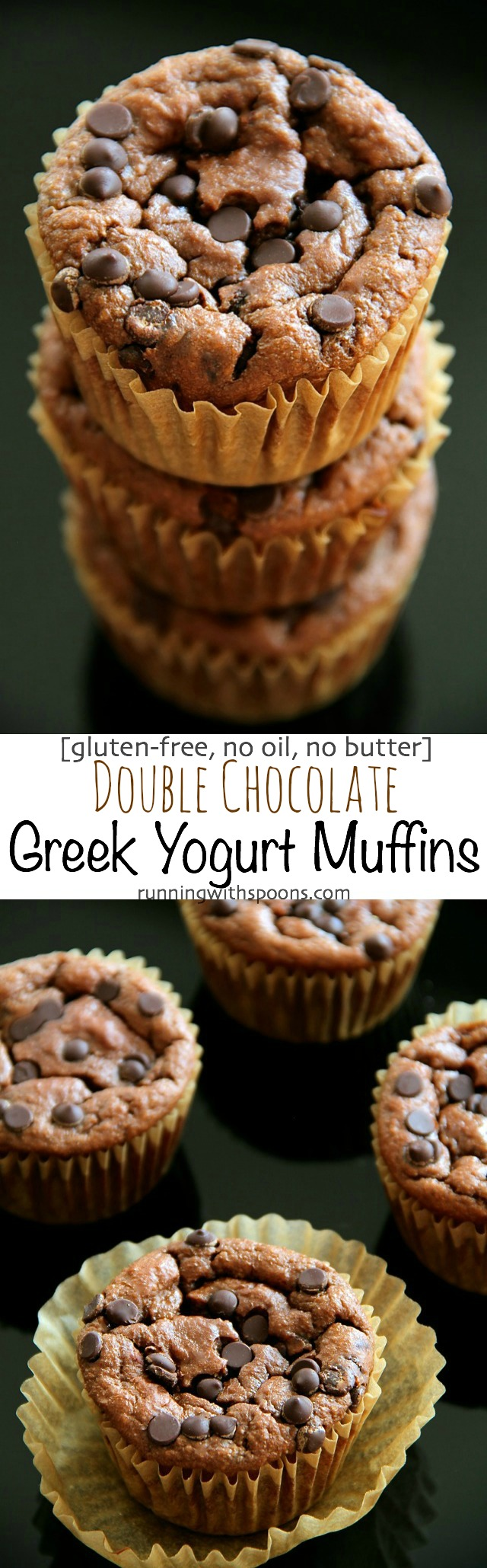 Double Chocolate Greek Yogurt Muffins -- you'd never believe that these soft and tender muffins are made with NO flour, butter, or oil! | runningwithspoons.com #recipe #healthy