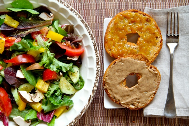 Salad and Bagel