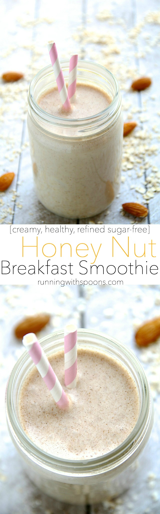 Honey Nut Breakfast Smoothie -- start your day off on the right foot with this creamy and comforting smoothie that combines the simple flavours of honey and nuts in a wholesome and satisfying breakfast! || runningwithspoons.com