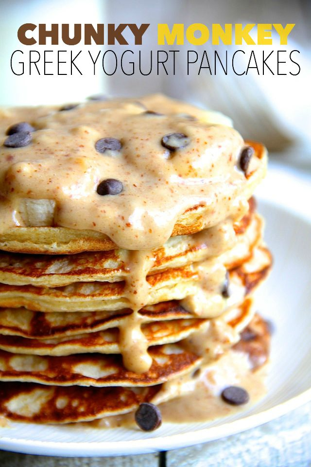 Chunky Monkey Greek Yogurt Pancakes -- a quick and easy gluten-free ...