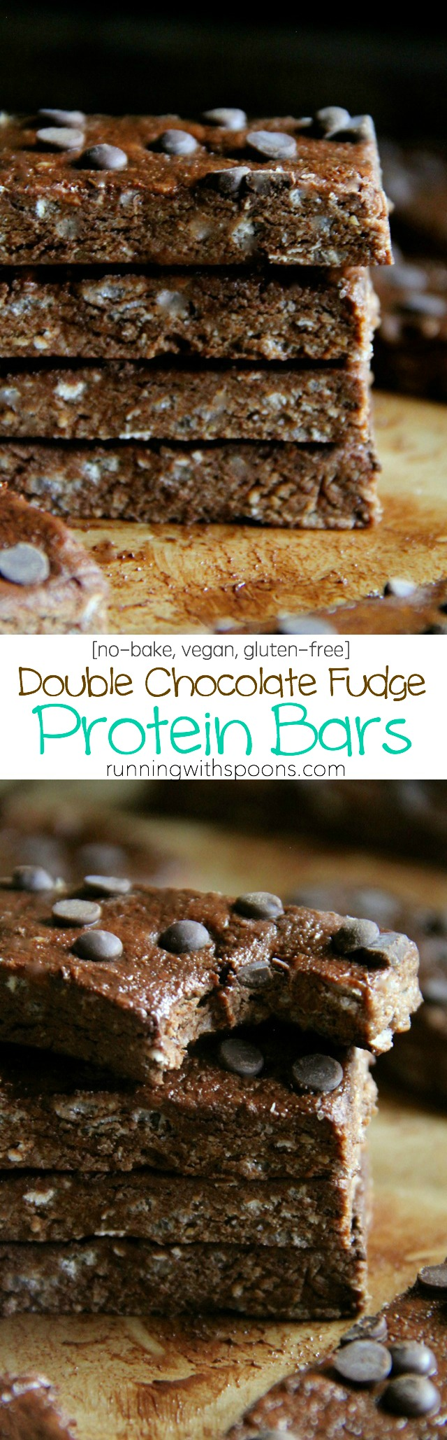 Double Chocolate Fudge Protein Bars -- these soft and fudgy no-bake chocolate bars are vegan, gluten-free, and make a PERFECT healthy snack! || runningwithspoons.com
