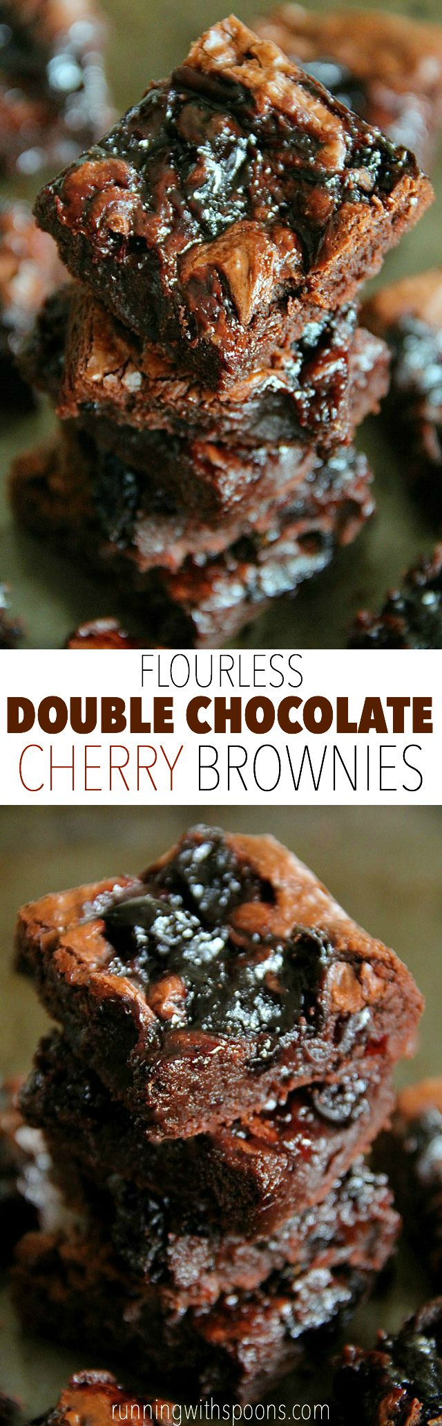 Flourless Double Chocolate Cherry Brownies -- rich and fudgy brownies that are grain-free and made without beans! || runningwithspoons.com #glutenfree #chocolate #brownies