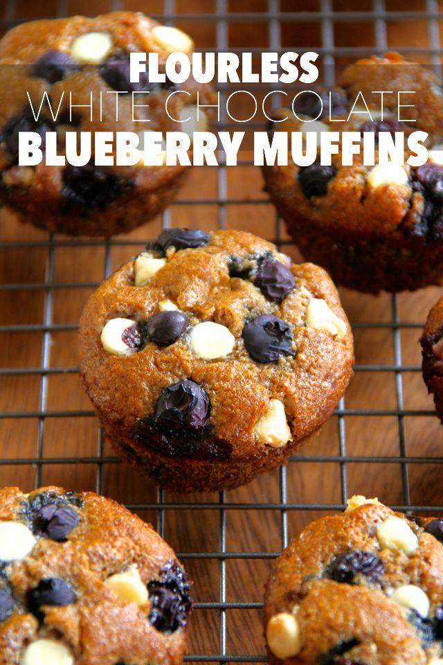 Flourless White Chocolate Blueberry Muffins -- gluten-free, oil-free ...