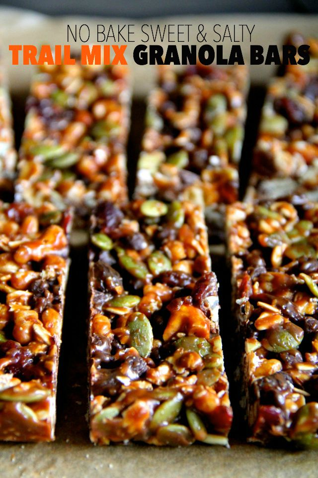 Sweet, salty, chewy, and crisp, these no-bake trail mix granola bars ...