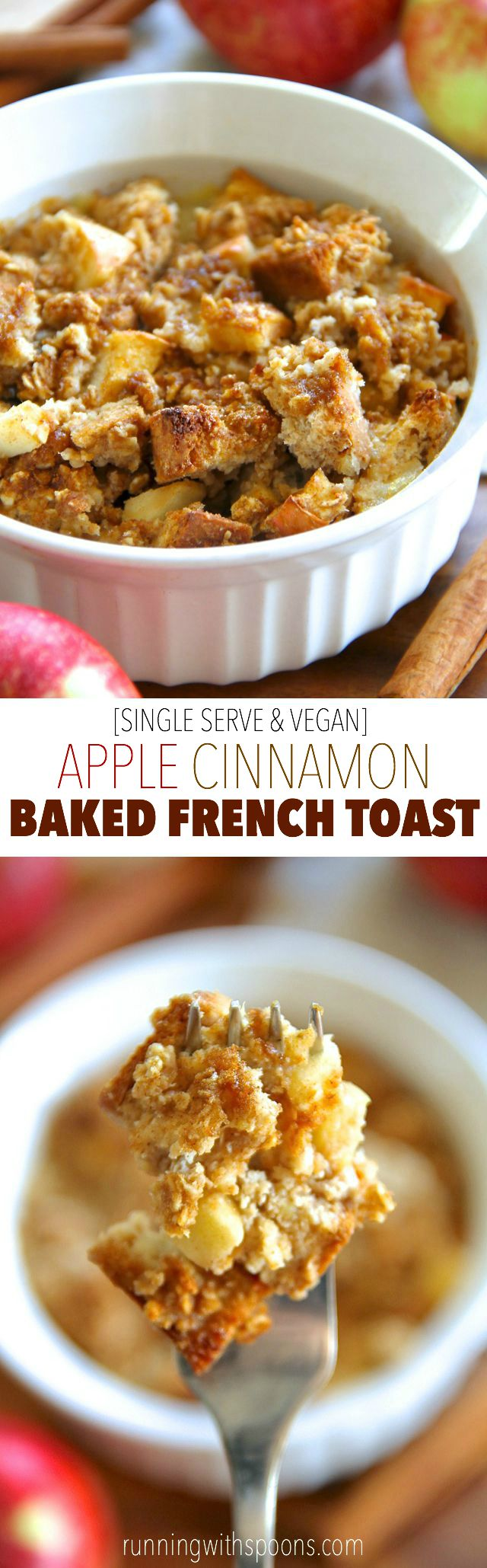 This single serve baked French toast is spiked with the delicious combination of apples and cinnamon! It's vegan, refined sugar free, easily made gluten-free, and packed with fiber and plant-based protein. A healthy and delicious breakfast! || runningwithspoons.com