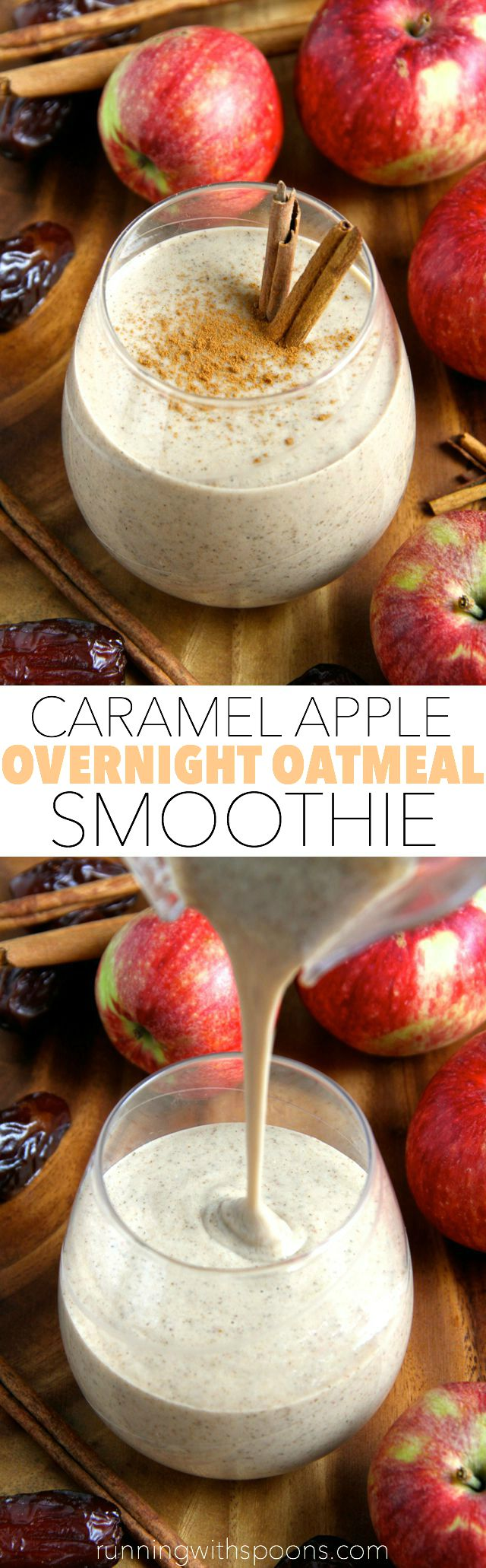 Caramel Apple Overnight Oatmeal Smoothie -- smooth, creamy, and sure to keep you satisfied for hours! This comforting fall-inspired smoothie makes a perfect healthy breakfast or snack!    runningwithspoons.com #vegan #fall #snack #breakfast