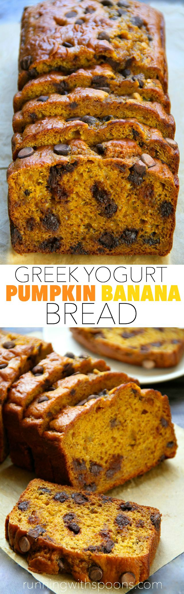 Greek Yogurt Pumpkin Banana Bread -- made without butter or oil, but ...