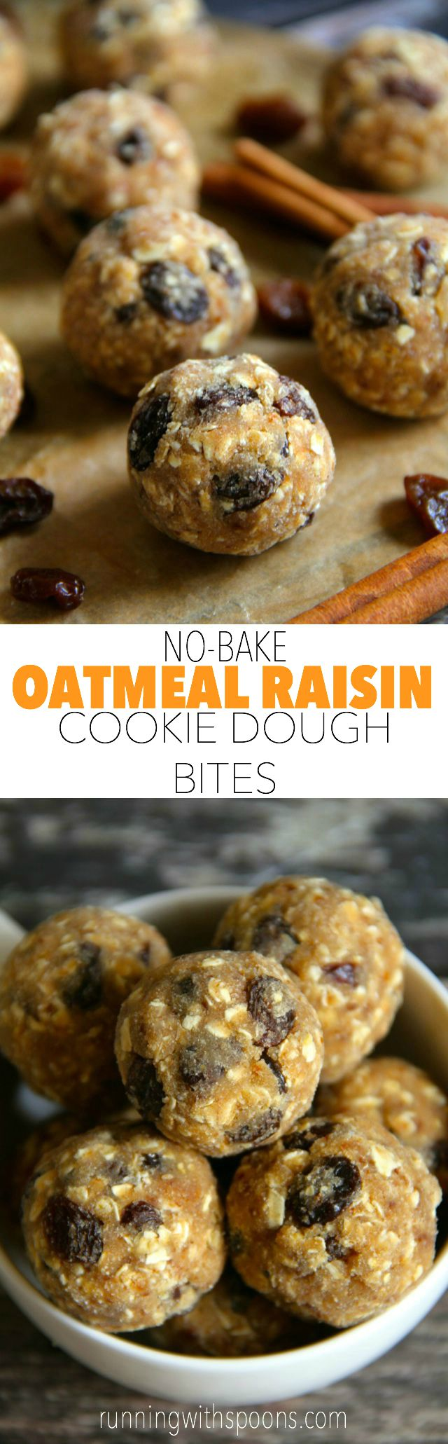 No Bake Oatmeal Raisin Cookie Dough Bites -- soft, chewy, and easy to make, these naturally gluten-free and vegan bites make a healthy and delicious snack for any time of the day    runningwithspoons.com #snack #vegan #bites