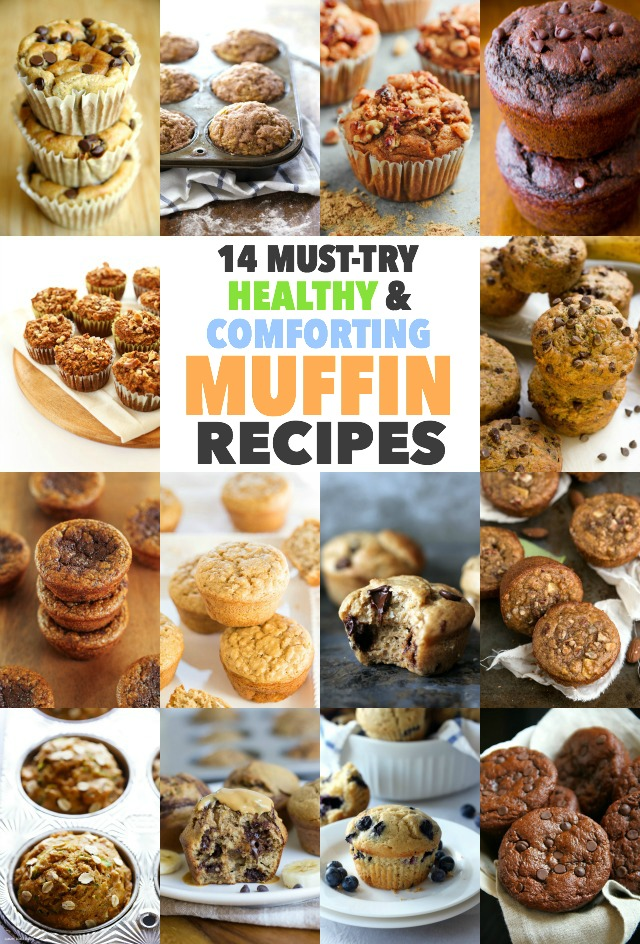 A MUST TRY collection of healthy and comforting muffin recipes that are good for the body and soul. Whether they're made with whole wheat, lightened up with Greek yogurt, or made with minimal amounts of refined sugar, these are muffins you can feel great about eating! || runningwithspoons.com #healthy #muffins