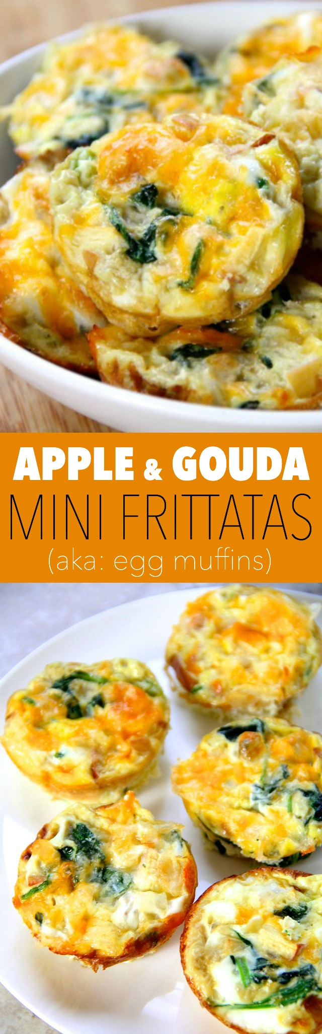 Apple and Gouda Mini Frittatas -- these delicious little egg muffins make a perfect grab-and-go breakfast or a fun brunch! Make ahead and simply pop them in the microwave when you're ready to eat    runningwithspoons.com #breakfast #brunch #eggs