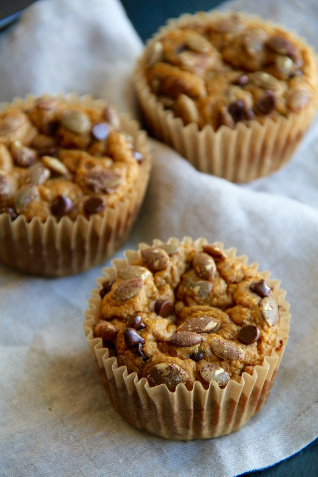 Pumpkin Oat Greek Yogurt Muffins -- made without flour, butter, or oil, but so ridiculously tender and delicious that you'd never be able to tell!    runningwithspoons.com #healthy #muffins #pumpkin #glutenfree