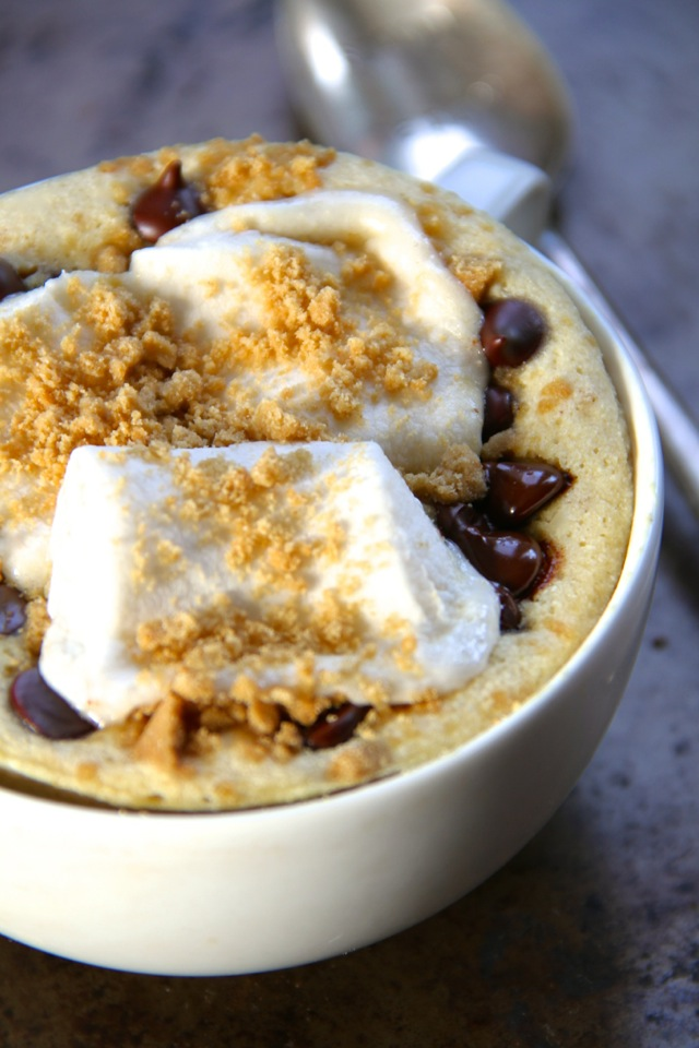 S'mores Mug Cake -- No campfire? no problem! Satisfy your s'mores craving with this soft and doughy campfire-free mug cake. Quick, easy, and made without butter or oil, it makes a perfect single-serve snack! || runningwithspoons.com #s'mores #mugcake #snack