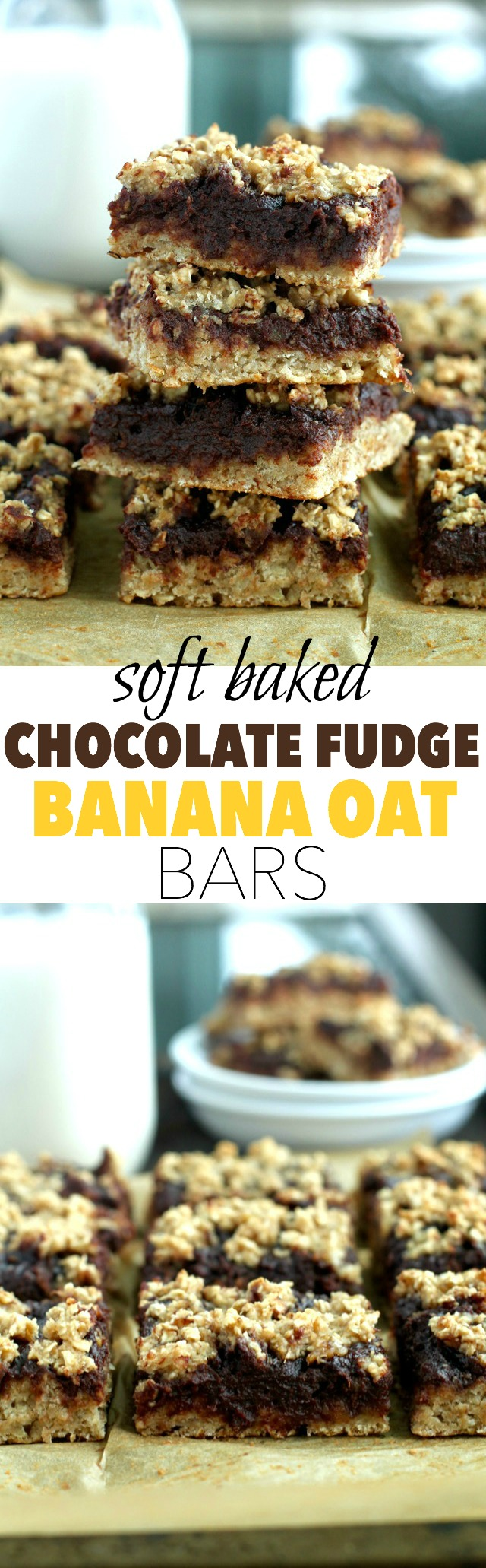 Chocolate Fudge Banana Oat Bars -- you'd never believe that these soft baked oat bars are vegan, gluten-free, refined sugar-free, and made without any butter or oil! || runningwithspoons.com #vegan #snack #healthy #chocolate
