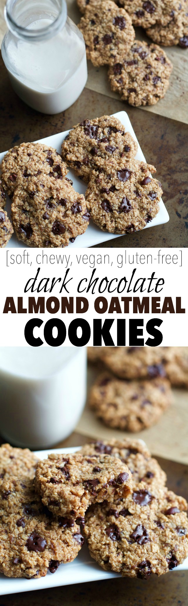Dark Chocolate Almond Oatmeal Cookies -- a deliciously chocolatey cookie made without flour, butter, or eggs, but so soft and chewy that you'd never be able to tell! || runningwithspoons.com #vegan #glutenfree #healthy #recipe