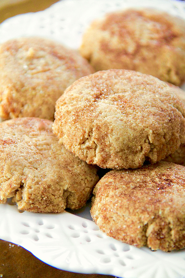 These Grain Free Snickerdoodles have the same soft texture and buttery cinnamon sugar taste of a classic snickerdoodle, but are made without flour, butter, eggs, or refined sugar!   runningwiithspoons.com #vegan #paleo #cookies
