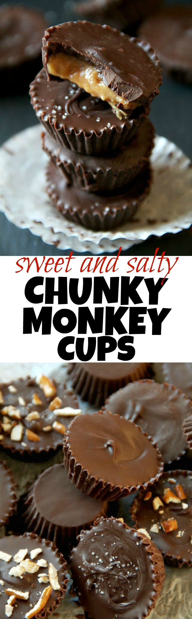 You'll go bananas for these sweet and salty Chunky Monkey Cups! Just 5 simple ingredients for one ridiculously delicious chocolate treat!   runningwithspoons.com #vegan #healthy #dessert